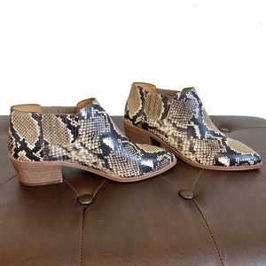 New Madewell Sonia Chelsea leather snakeskin boots